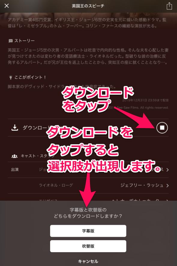 字幕・吹き替えを選択してダウンロードする方法画像
