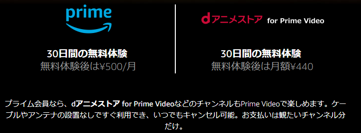 dアニメストア for prime videoの料金仕組み