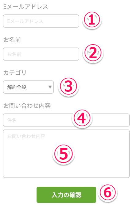 アカウント情報削除(退会)要請のメール入力欄の画像