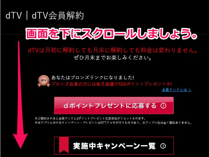 dTV解約時の目立つ赤いボタンの画像