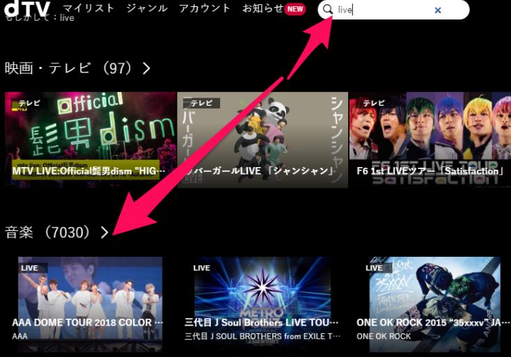dTVライブ映像の数の画像